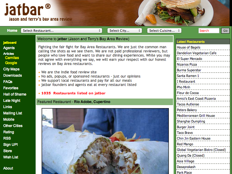 Screenshot of jatbar (courtesy of the Internet Archive)